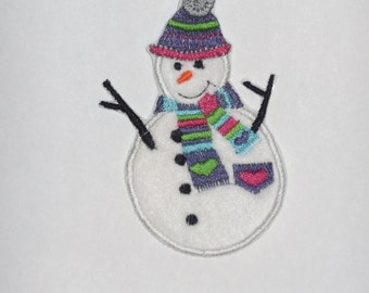 "Embroidered Iron On Applique  ""Snowman"""
