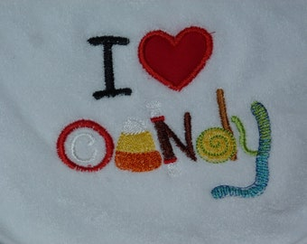 """Embroidered Baby Bib """"I Love Candy """""""