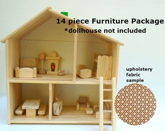 Wooden Toy Peg Doll House Furniture, Natural Wood, Ikea Flisat Dollhouse Furniture Kids Gift, Simple Minimalist Nursery Decor
