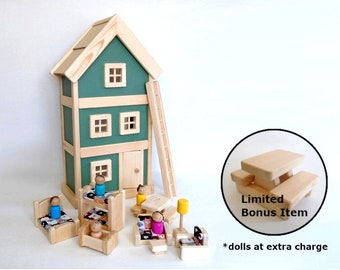 Wooden Handcrafted Toy Peg Doll House With Furniture, Dollhouse Furniture, Gender Neutral Kids Birthday Gift,Simple Minimalist Nursery Decor