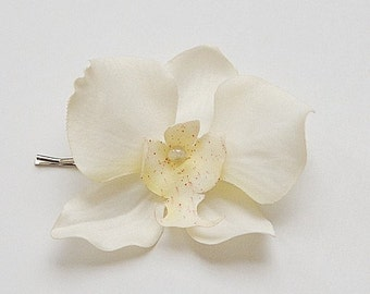 Wedding hair Ivory Orchid flower hair pin, bobby pin, bridal, bridesmaid, bridal accessories