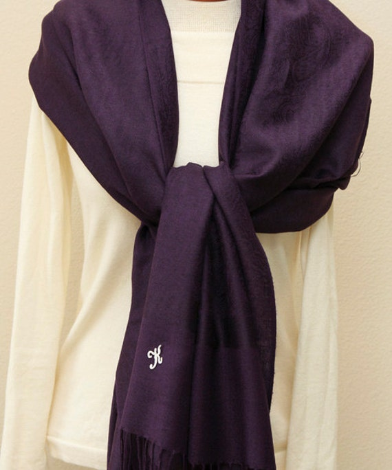 4931f2a566656 Soft eggplant dark purple paisley pashmina shawl scarf wrap   Etsy