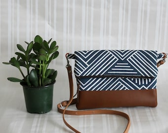 Foldover Crossbody Bag, Simple CrossBody Bag, JULIA CrossBody Purse, Everyday Purse, Hobo Handbag,Navy Crossbody Bag, Boho Bag, Gifts for 50