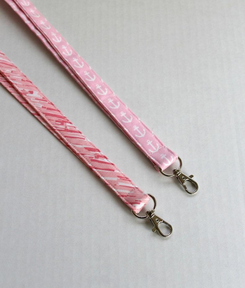 ID Strap- Teacher Lanyard- Cute Boho Lanyard -Fabric Lanyard Pink White Lanyard Long Key Lanyard Pink Anchor Lanyard Striped Lanyard