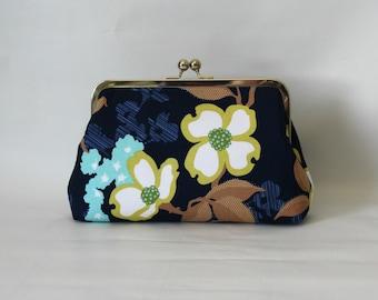 Blue Bridal Clutch - Floral Wedding Clutch - Blue Floral Clutch -Bridesmaids Clutch - Wedding Clutch Purse - Bridesmaid Gifts - Nancy Clutch