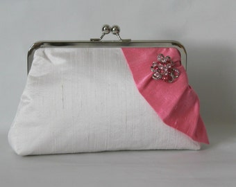 Ivory Bridal Clutch - Ivory Wedding Purse -Bridal Purse - Ivory Wedding Purse - Bridesmaids Clutch - Ivory and Pink Clutch - Giselle