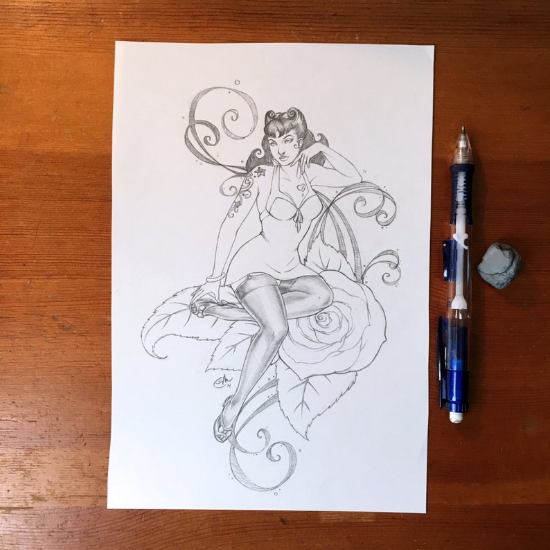 5a87f1bfe Retro Pin-up 6.5x9.5in Original Pencil Drawing Artwork | Etsy