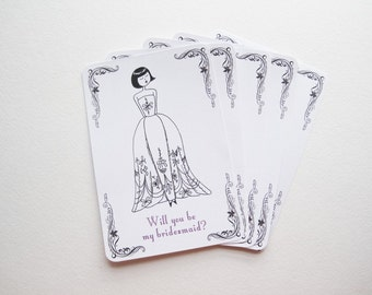 Will You be my Bridesmaid cards - set of five