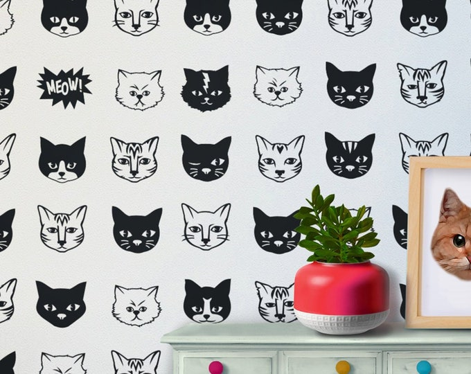 cat pattern wall decal set, kitty wall stickers, cat meme art, nursery decor