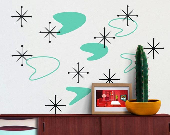 boomerang mid century wall decal set, starburst wall decals, vintage 50s design, retro mcm