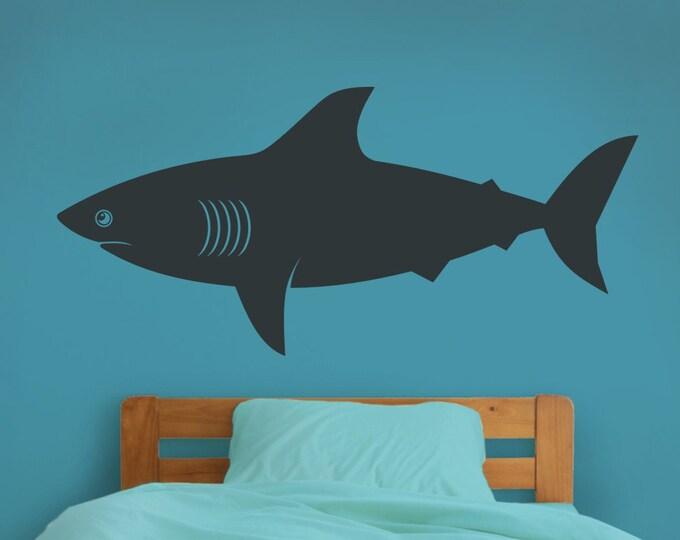 shark wall decal, shark vinyl sticker art, undersea, marine life wall decal, shark week, boys room decor, girls room decor