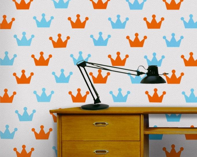 crown wall decal pattern set, crown vinyl sticker art, king, princess, queen art FREE SHIPPING