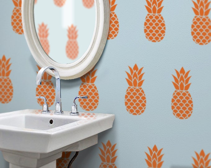 pineapple wall decal set, pineapple pattern vinyl art, tropical fruit design, hawaiian fruit , interior design, fun wall art