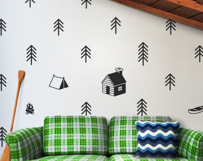 Camping art wall decal- cottage art, wilderness decor, outdoors stickers, forest art, trees decal, cottage decor, camp decor, trees, canoe