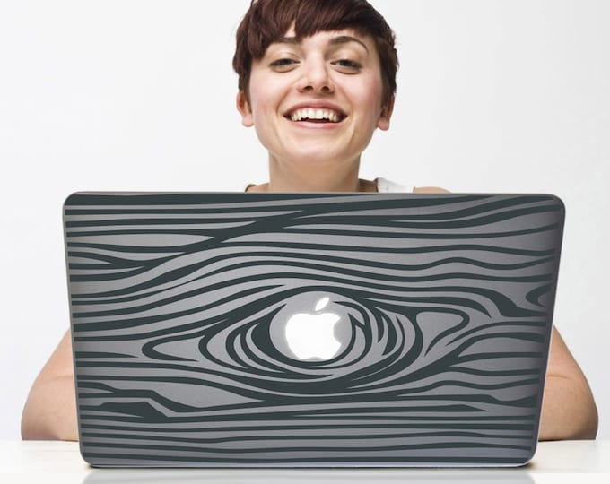 woodgrain laptop decal, wood grain macbook decal design, faux bois sticker art, macbook sticker art