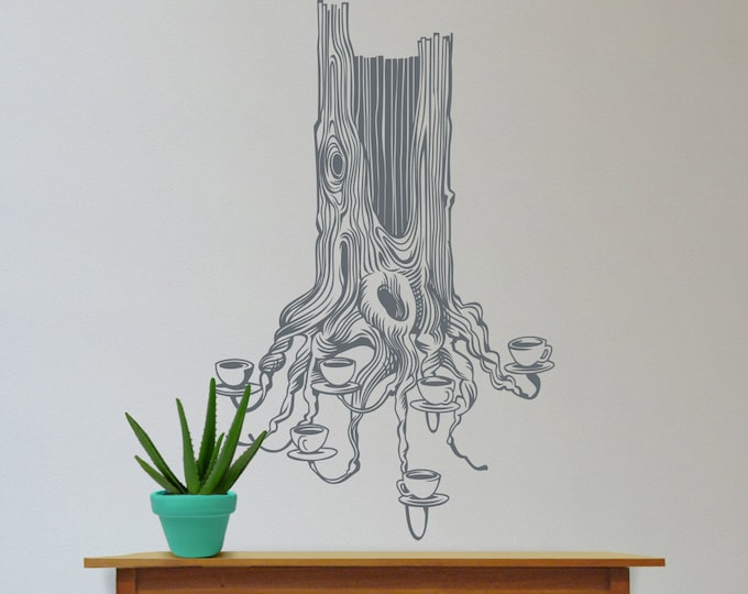 tea tree wall decal, large size tree wall sticker, illustrated tree wall decor