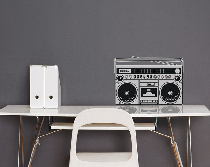 boombox vinyl wall decal, 80s wall sticker, retro art, music lover art, FREE SHIPPING