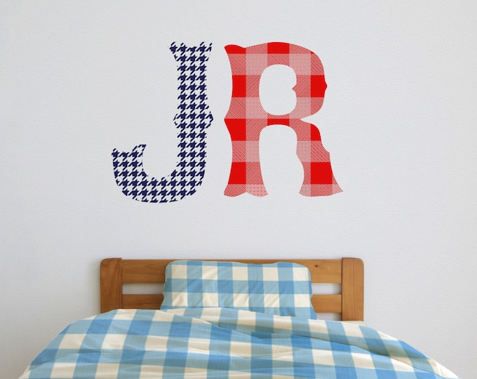 monogram wall decal with patterns, custom initials wall decal, nursery decor, bedroom decor