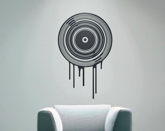 Dripping record wall decal- music art, music decor, turntable, record collector art, living room decor, music lover gift, music lover,