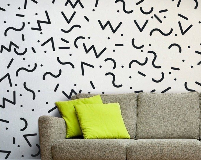 memphis group wall decals, 80s retro tickers, vintage eighties decor, 80's art and design, memphis design