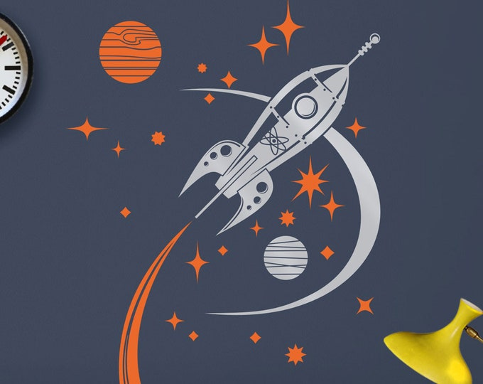 rocket ship wall decal, mid century space ship art, retro rocket sticker art, vintage space decor