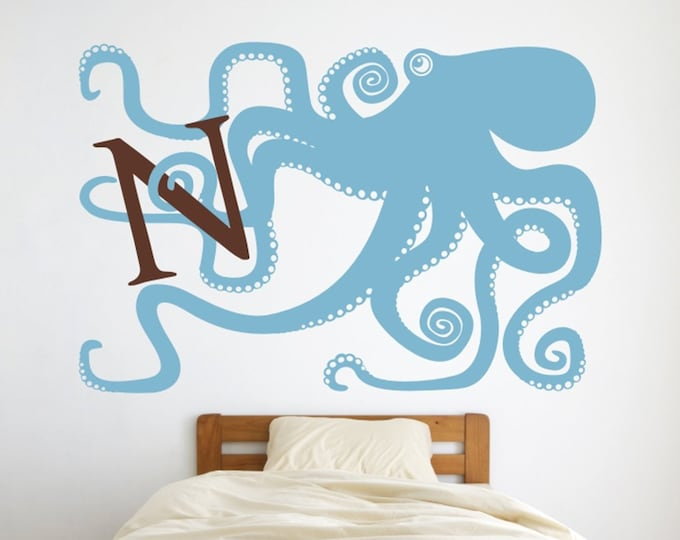 octopus monogram wall decal, large octopus sticker art, initial decal, personalized kid's room decor