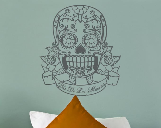 sugar skull wall decal with custom banner, day of the dead sticker, dia de lost meurtos decor, mexican decor, mexican art