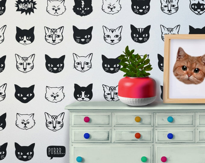 cat pattern wall decal set, kitty wall art, cat stickers, cat meme, gift for girls, gift for boys, cat lovers, feline art