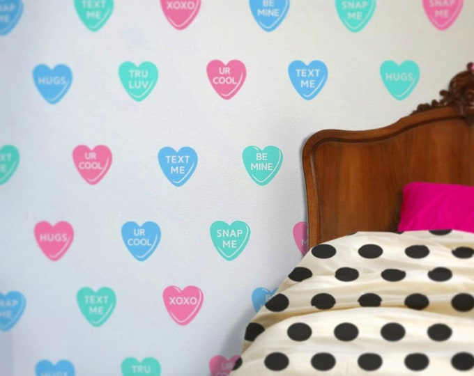 candy hearts wall decal set, sweet hearts vinyl wall stickers, teen girls room, valentines kids room wall art, cute wall art,  girls room