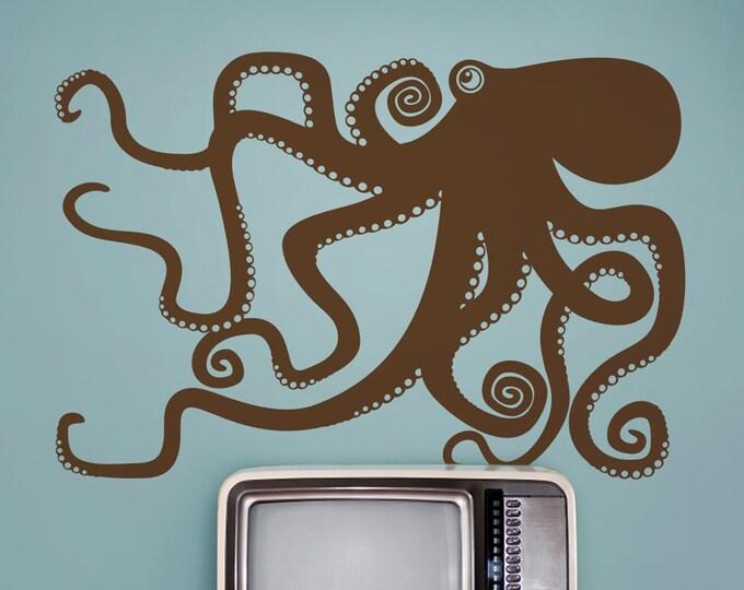 octopus wall decal, tentacles sticker, kraken wall art, children's room, marine life decor, nursery decor