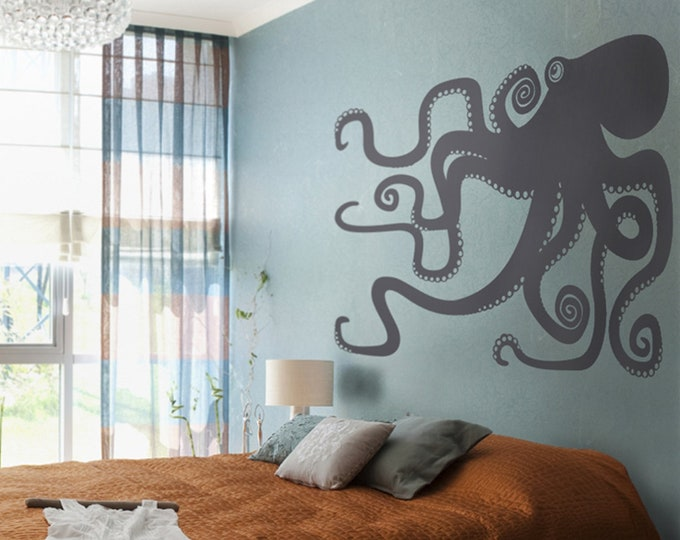 Octopus vinyl wall decal large- sticker art, tentacles, octopus wall art, octopus decor, bedroom decor, living room decor, nautical art
