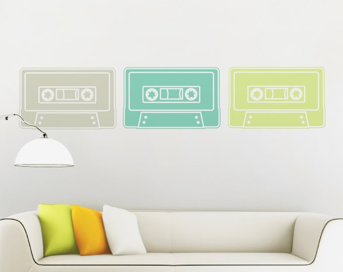 cassette tape wall decal set, vintage 80s cassette art, 80s decor, music lovers, retro mixed tape art, bedroom decor, mixed tape stickers