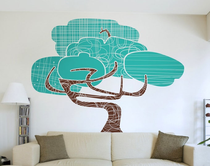 large tree wall decal, mid century modern tree art, modernist tree, living room decor, bedroom decor, nature art