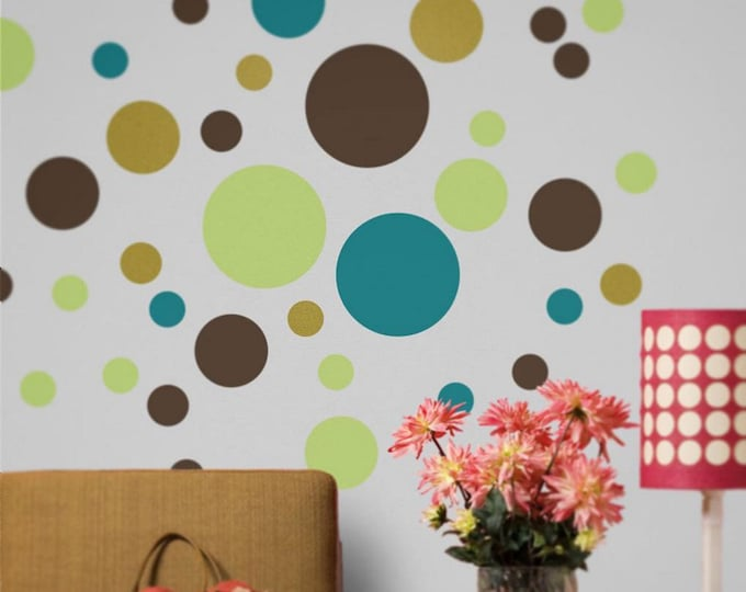 polka dot wall decal set, polka dot sticker art, nursery decor, polka dot design, circles wall decals