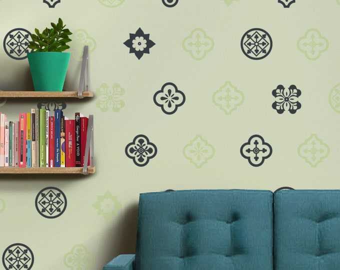 Mediterranean design wall decal set- Spanish pattern designs, decorative wall decor, pattern wall decal, spanish art, living room decal