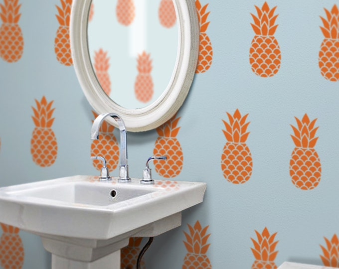 pineapple wall decal set, pineapple pattern vinyl art, tropical art, Hawaiian fruit art, FREE SHIPPING
