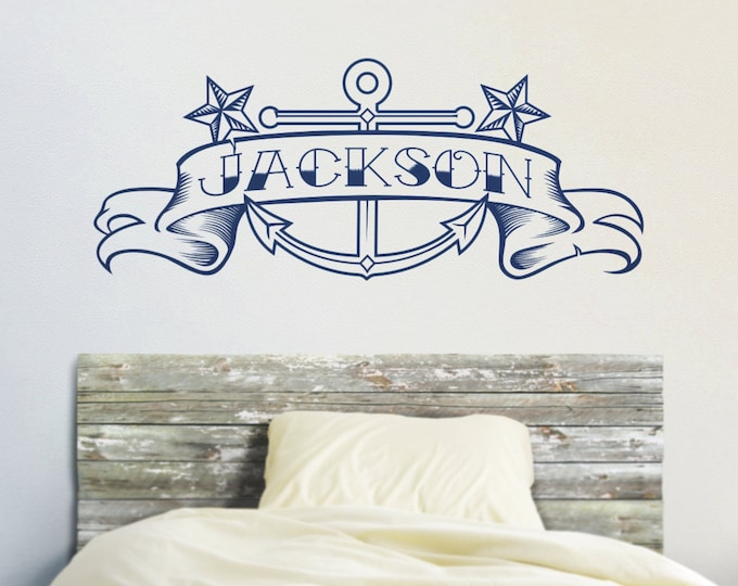 Anchor vinyl wall decal, custom banner, tattoo art, anchor sticker art, nautical decor
