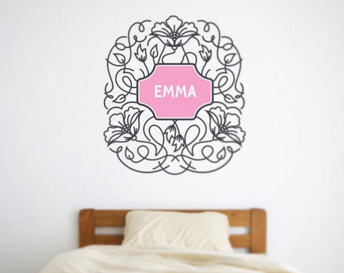 Custom name decal-flower wall decal, personalized decal, name wall decal, flower sticker, nursery decor, baby girl nursery, girls room decor
