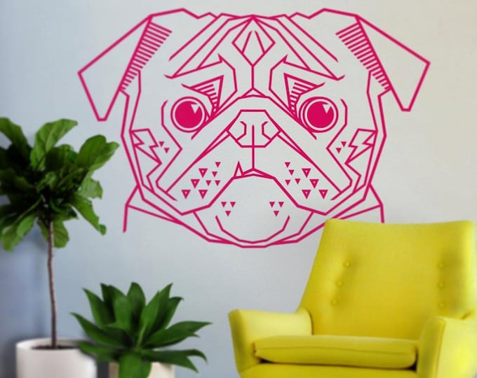pug wall decal, geometric pug wall decal, abstract dog sticker, cute pug decal, dog meme, geometric dog, gift for dog lover, pug lover