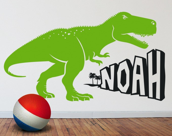 dinosaur wall decal, t-rex sticker, tyrannosaurus rex wall decal, custom name decal