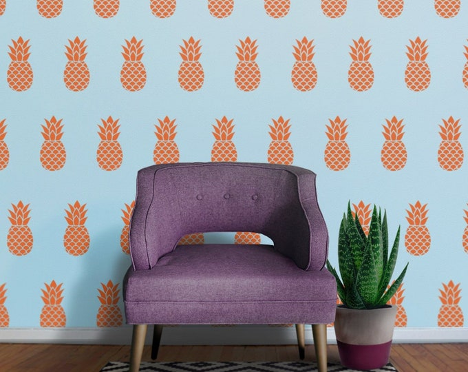 pineapple wall decal set, pineapple pattern stickers, fruit stickers