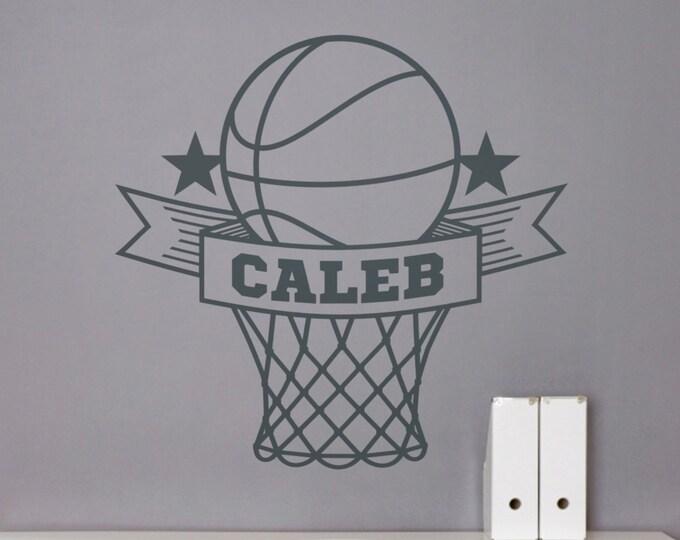 personalized basketball wall decal, custom sports sticker