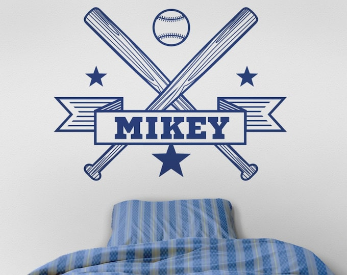 personalized baseball wall decal, custom sports sticker, bedroom sports decor