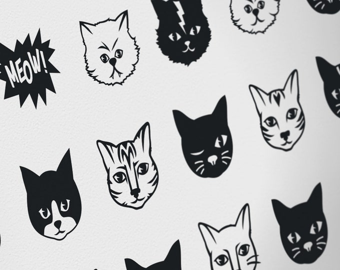 Black Cats wall decals- black kittens, cat stickers, cat lover gift, nursery decor, animal art, cute kitty