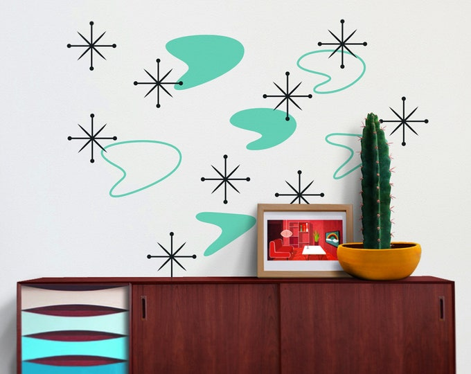 boomerang mid century wall decal set, starburst wall decals, vintage 50s design, retro mcm