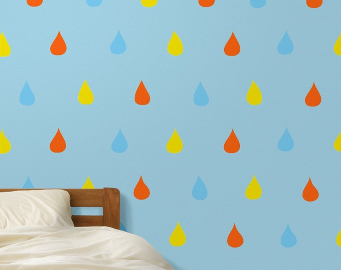 Rain drops wall decal- pattern wall stickers, cute rain drops, children's room decor, nursery decor, girls room, boys room
