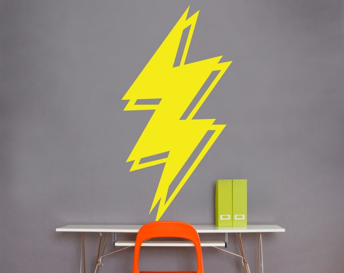 lightning bolt wall decal, lightning sticker art, thunder art, storm art, rock and roll art, fun decor