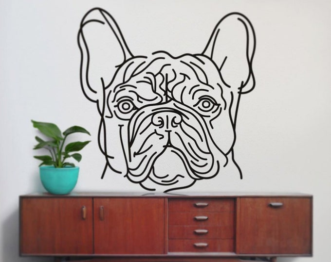 french bulldog wall decal, bulldog line drawing, frenchies decor, dog art, large wall sticker
