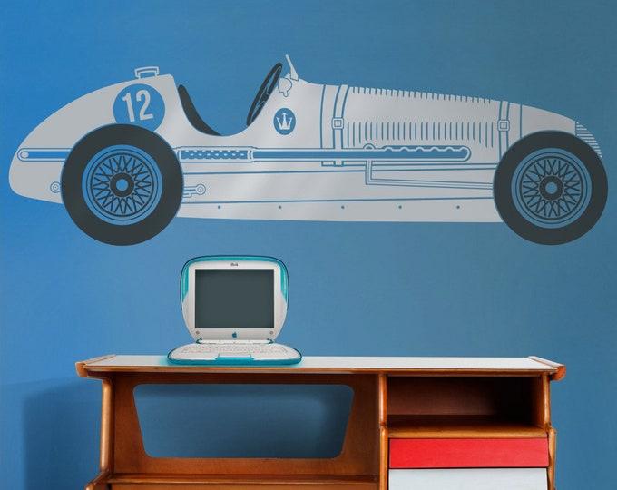 race car wall decal, retro grand prix maserati