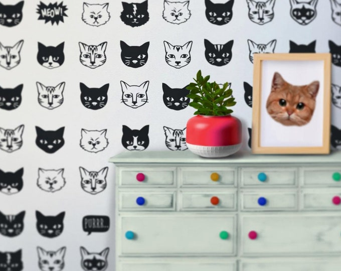 cat pattern wall decal set, kitty wall art, cat stickers, FREE SHIPPING
